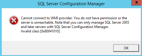 Cannot connect to WMI provider